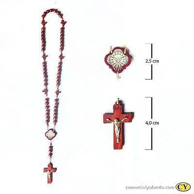 Terço Divino Espirito Santo em madeira - Pacote com 6 peças - Cód.: 9071