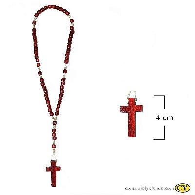 Terço em madeira vermelho, cruz sem cristo - A Dúzia - Cód.: 2704