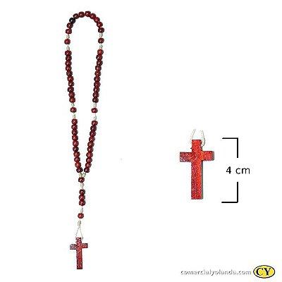 Terço em madeira vermelho, cruz sem cristo - A Dúzia - Cód.: 2708