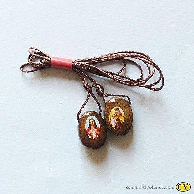 Escapulário em madeira resinada, Sagrado Coração de Jesus e Nossa Senhora do Carmo - A Dúzia - Cód.: 6220