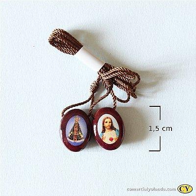 Escapulário em madeira resinado, Sagrado Coração de Jesus e Nossa Senhora Aparecida - A Dúzia - Cód.: 4314