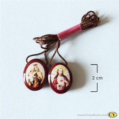 Escapulário em madeira resinado, Sagrado Coração de Jesus e Nossa Senhora do Carmo - A duzia  - Cód.: 4315
