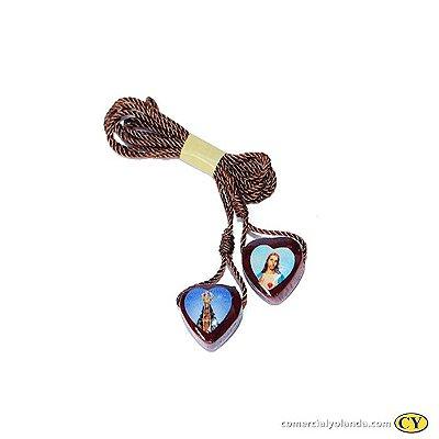 Escapulário  cordão de nylon , Sagrado Coração de Jesus e Nossa Senhora Aparecida - A Dúzia - Cód.: 4252