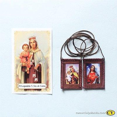 Escapulário de tecido com folheto de oração S. Coração de Jesus e N. Senhora do Carmo - A Dúzia - Cód.: 276