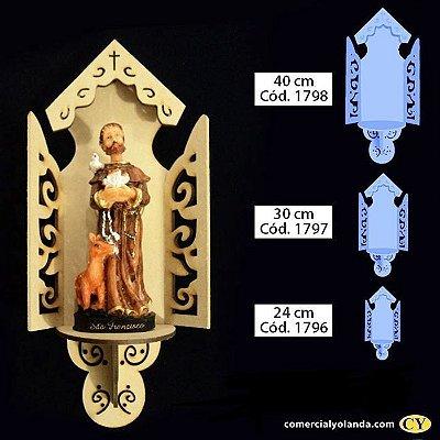 Oratório Aberto Luxo em madeira, sem pintura - A Unidade - Cód.: 1798/1797/1796