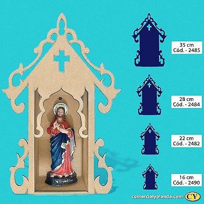 Oratório Fechado Luxo em madeira, sem pintura - A Unidade - Cód.: 2485/2484/2482/2490
