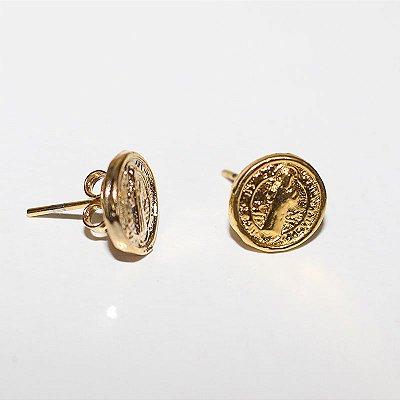 Brinco em metal Dourado de Medalha de São Bento  - Pacote com 3 pares - Cód.: 3296