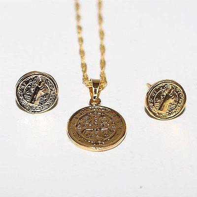 Conjunto Colar e Brinco - Medalha de São Bento - O pacote com 3 conjuntos - Cód.: 6958