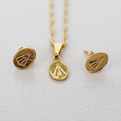 Conjunto Colar e Brinco - Nossa Senhora Aparecida - Dourado - O pacote com 3 conjuntos - Cód.: 052