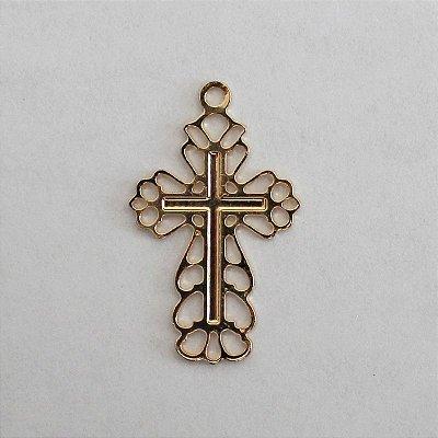 Medalha Dourada Cruz vazada G - A dúzia - Cód.: 088