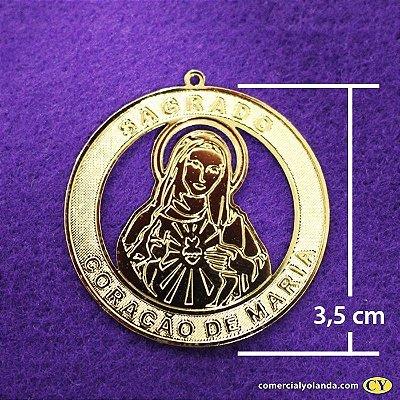 Medalha dourada de Sagrado Coração de Maria - A Dúzia - Cód.: 0652