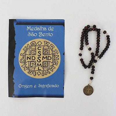 Terço com Folheto de Oração - Medalha de São Bento - A dúzia - Cód.: 3561
