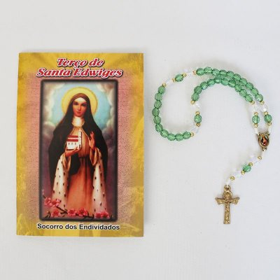 Terço com Folheto de Oração - Santa Edwiges - O Pacote com 6 Peças - Cód.: 2171