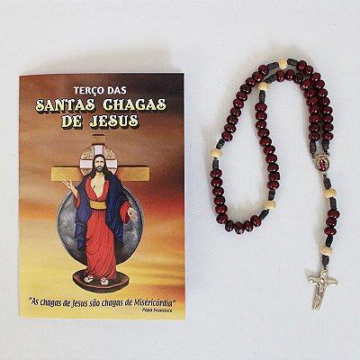 Terço com Folheto de Oração - Santas Chagas de Jesus - O Pacote com 6 Peças - Cód.: 3926