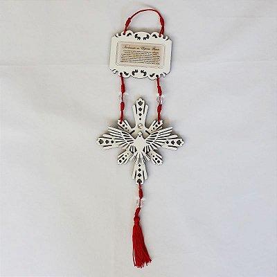 Enfeite de Parede do Divino Espírito Santo com Oração - Branco - O pacote com 3 peças - Cód.: 4310