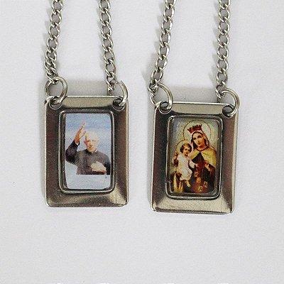 Escapulário com moldura e corrente em aço inox e foto colorida Padre Donizete e Nossa Senhora do Carmo - O Pacote com 6 unidades - Cód.: 8848