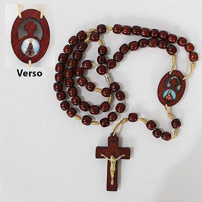 Terço em madeira do Sagrado Coração de Jesus e Nossa Senhora Aparecida - Com triângulo e fecho - A Dúzia - Cód.: 0824