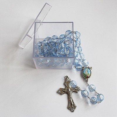 Terço de Nossa Senhora de Fátima e Sagrado Coração de Jesus - Contas em Plástico Transparente 10 mm - Com caixa acrílica - Pacote com 3 peças - Cód.: 8611