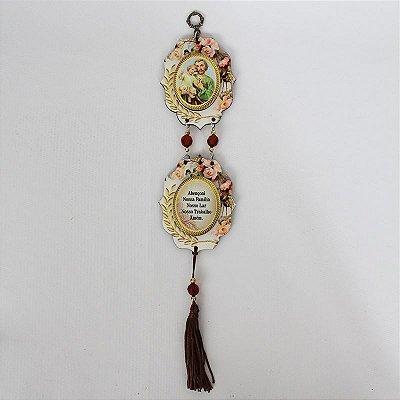 Mini Adorno MDF estampado com Oração - São José - Pacote com 3 peças - Cód.: 5468