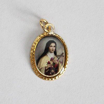 Medalha de Alumínio Resinada - Santa Terezinha - Pacote com 100 peças - Cód.: 447