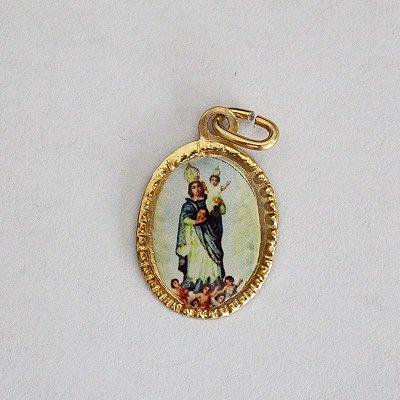 Medalha de Alumínio Resinada - Nossa Senhora da Cabeça - Pacote com 100 peças - Cód.: 447