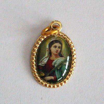 Medalha de Alumínio Resinada - Santa Luzia - Pacote com 100 peças - Cód.: 447
