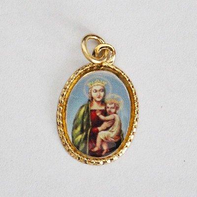 Medalha de Alumínio Resinada - Nossa Senhora do Rosário - Pacote com 100 peças - Cód.: 447