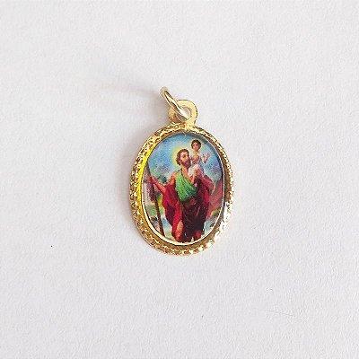 Medalha de Alumínio Resinada - São Cristóvão - Pacote com 100 peças - Cód.: 447