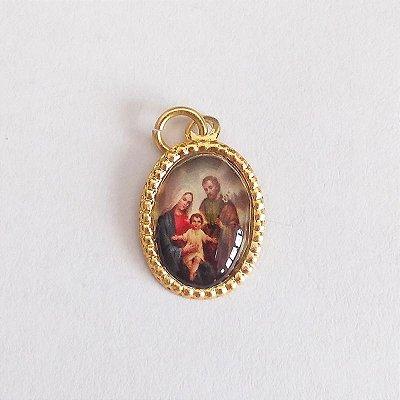 Medalha de Alumínio Resinada - Sagrada Família - Pacote com 100 peças - Cód.: 447