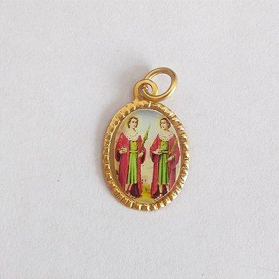 Medalha de Alumínio Resinada - São Cosme e Damião - Pacote com 100 peças - Cód.: 447