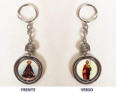 Chaveiro Giratório - São Judas e Nossa Senhora Aparecida - O pacote com 3 unidades - Cód.: 920