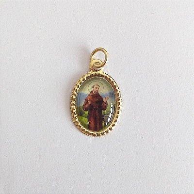 Medalha de Alumínio Resinada - São Francisco de Assis - Pacote com 100 peças - Cód.: 447