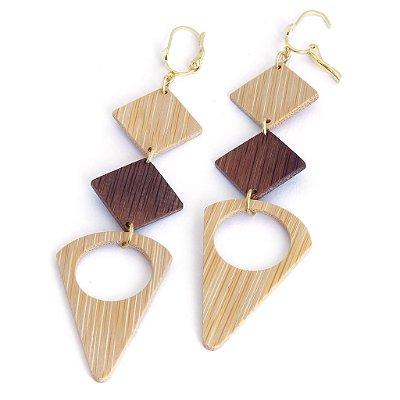 Paladio - Brinco artesanal em bambu e ouro - Arte do Mato