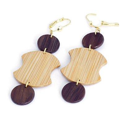 Mecato - Brinco artesanal em bambu e ouro - Arte do Mato