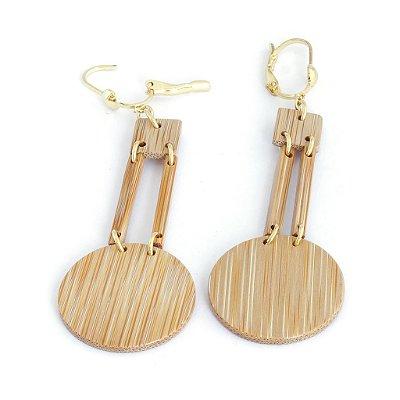 Olímpio - Brinco artesanal em bambu e ouro - Arte do Mato