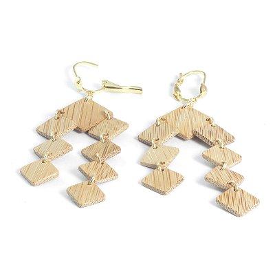 Mônaco - Brinco artesanal em bambu e ouro - Arte do Mato