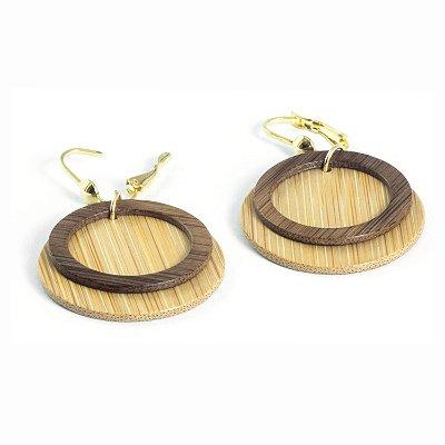 Urano - Brinco artesanal em bambu e ouro - Arte do Mato