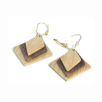 Prosaico - Brinco artesanal em bambu e ouro - Arte do Mato