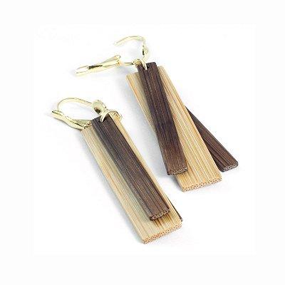 Paradiso - Brinco artesanal em bambu e ouro - Arte do Mato