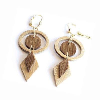 Bem-me-quer - Brinco artesanal em bambu e ouro - Arte do Mato