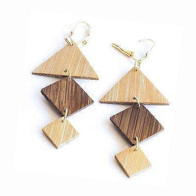 Policarpo - Brinco artesanal em bambu e ouro - Arte do Mato