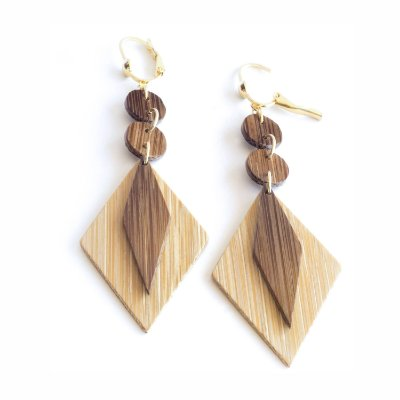 Sinuante - Brinco artesanal em bambu e ouro - Arte do Mato
