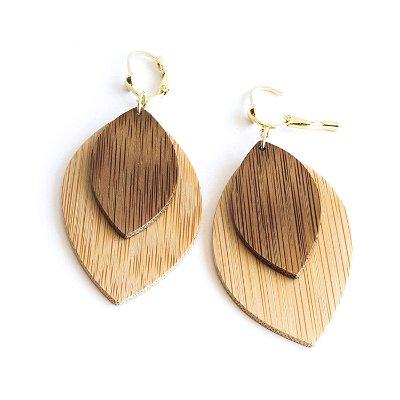 Ecos - Brinco artesanal em bambu e ouro - Arte do Mato