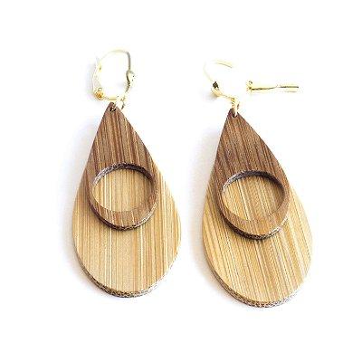 Danúbio - Brinco artesanal em bambu e ouro - Arte do Mato