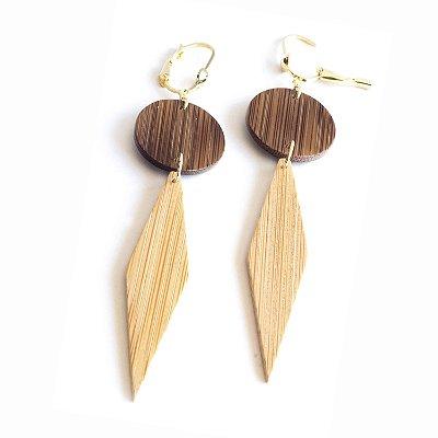 Sueco - Brinco artesanal em bambu e ouro - Arte do Mato