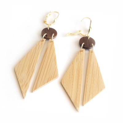 Índigo - Brinco artesanal em bambu e ouro - Arte do Mato