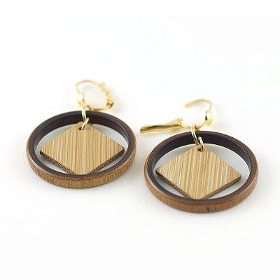 Granito - Brinco artesanal em bambu e ouro - Arte do Mato