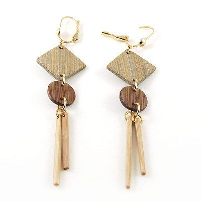 Elegance - Brinco artesanal em bambu e ouro - Arte do Mato