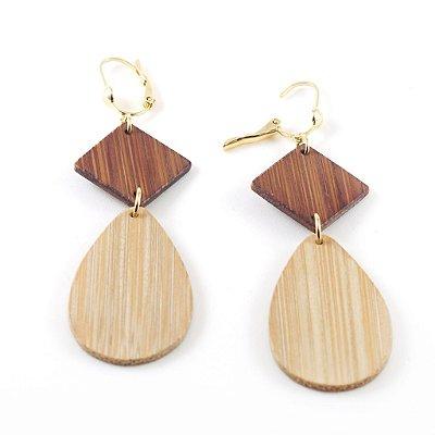 Opus - Brinco artesanal em bambu e ouro - Arte do Mato