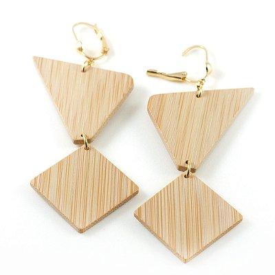 Geometri - Brinco artesanal em bambu e ouro - Arte do Mato
